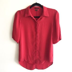 THEORY Silk Split / Tie Back Shirt Red S